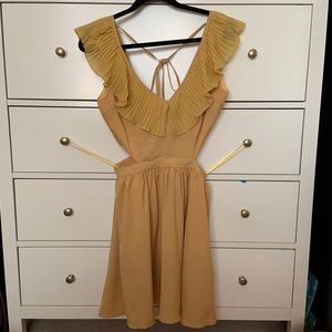 Dresses & Skirts - Yellow ruffled dress with open sides/back